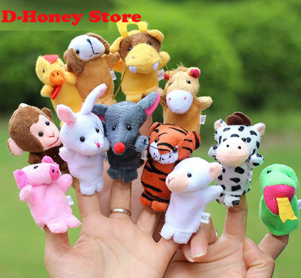 top popular Chinese Zodiac 12pcs lot Animals Cartoon Biological Finger Puppet Plush Toys Dolls Child Baby Favor Finger Doll Free shipping 2021