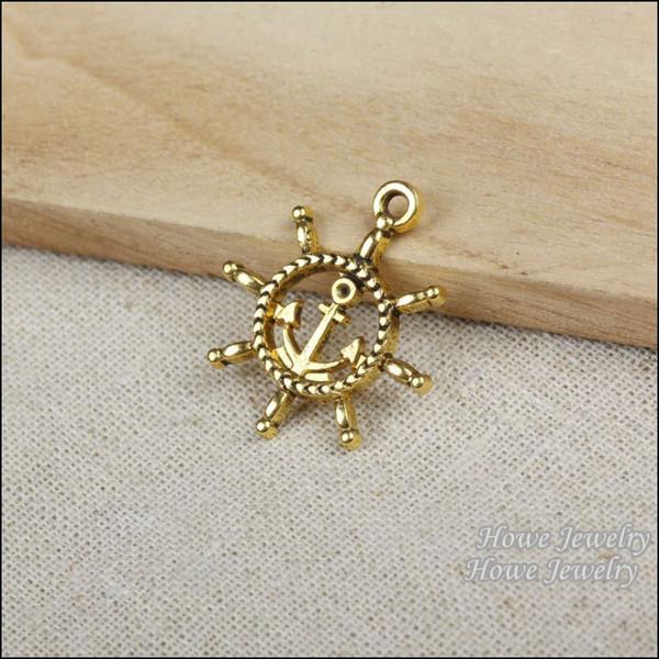 36pcs Vintage Charms Anchors Pendant Antique gold plated Fit Bracelets Necklace DIY Metal Jewelry Making R008