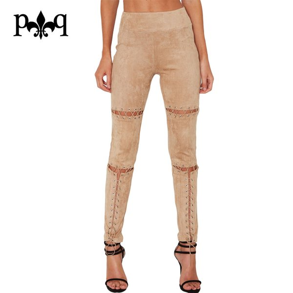 Faux Suede Pants Women Sexy Super High Rise Eyelets Lace Up High Waist Pencil Pant Stretchy Fit Skinny Women Leggings Trousers