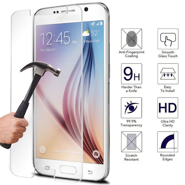 Wholesale-9H 0.3mm Ultra Thin Real  Tempered Glass Film 2.5D Screen Protector For Samsung Galaxy S7 S6 Edge Grand Prime J5 Note 5