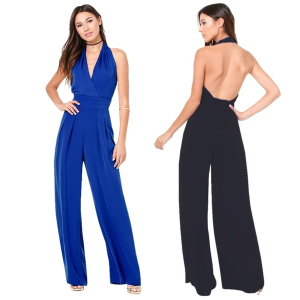 Wholesale- Lady Wide Legging Chiffon Jumpsuits Barboteuse Solid Halter V-neck Backless Sexy Overalls Quality Plus Georgette Coverall FK1101