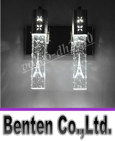 NEW Modern 5W LED Crystal Bubble Wall Lamp Crystal Cylinder Shape Column Living Room Wall Lamp Mirror Light RGB Warm White Chandelier Light