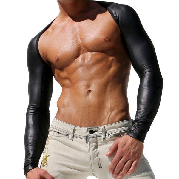 Wholesale-Men Sexy Wet Look Sport Sleeves Top Tees Long Sleeve Shirt Clothing Inside Arms Brand UV Protect Render Bike Bicycle Riding