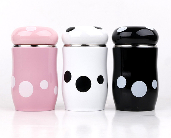 Cartoon student baby mushroom insulation cup female portable cute Korean mini baby belly cup black white pink water bottle 270ml