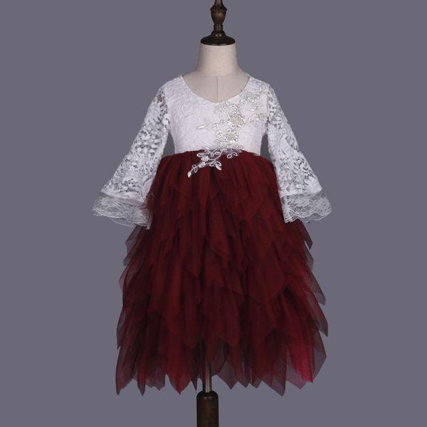 Children Wedding Flower girl dress Luxury Lace Mesh Beads Princess Ball Gown Tutu Long dress flare sleeve Backless Tulle dress Wine red 2017