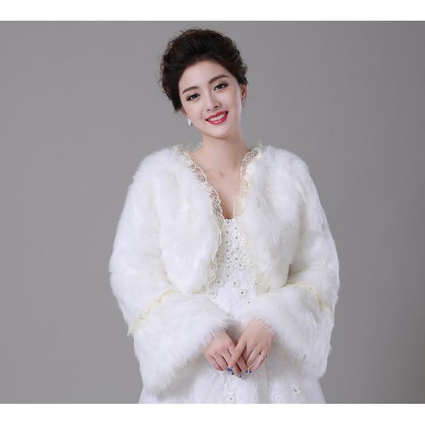2017 Winter Bridal Boleros Jackets Wedding Accessories Long Sleeves Warm Faux Fur Bridal Boleros