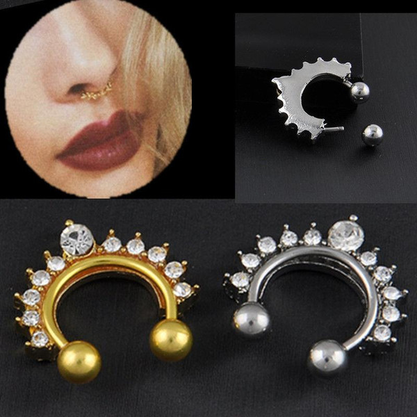 1pc Fake Clip On Non Piercing Rhinestone Septum Nose Ring Faux Click C00066 FSH