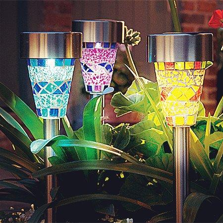 Solar Powered Lamp Solar Mosaic Border Garden Post Lights Garden Decoration Stake Light Solar Led Light Pathway Lawn Light Christmas Gifts