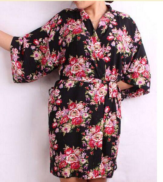 Оптовая Продажа-Новые Цветочные Женщины Свадебные Кимоно Халат Цветок Атласный Шелк Леди Спа Ночь Платье Бесплатная Доставка