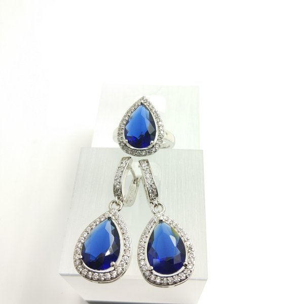 The new setting of 925 sterling silver jewelry fashion lovers wedding treasure women Blue Sapphire Earrings Ring Size 789 free jewelry box .