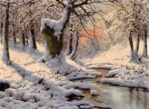 Framed Winter snow landscape with stream in sunset,Free Shipping,Perfect Pure Hand-painted Scenery Art oil painting Canvas Multi sizes