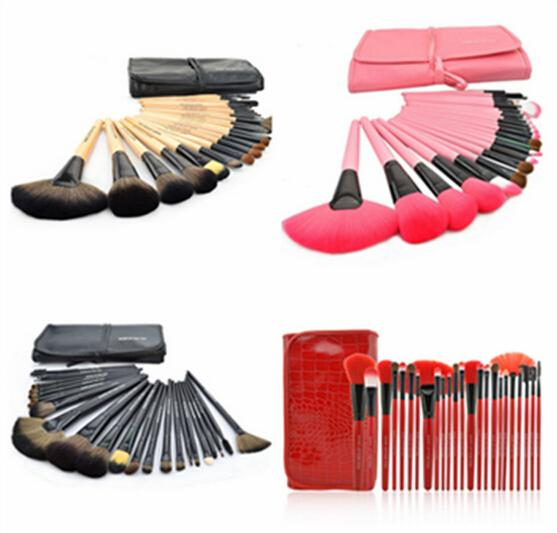 24PCS Makeup Brush Sets tech Makeup Toiletry Brush Set Kit Tool + Roll Up Case Brand Cosmetic with logo DHL ship