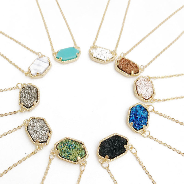 Free Shipping Kendra Druzy Stone Earrings Geometric Color Gemstone Pendant necklace Brass Gold Plating for Lady