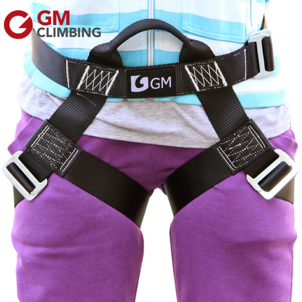 best selling S Size Safety Climbing Harness Outdoor Rope Rappelling Zipline Rock Mountaineering Equip Garden Play Half Body Harness