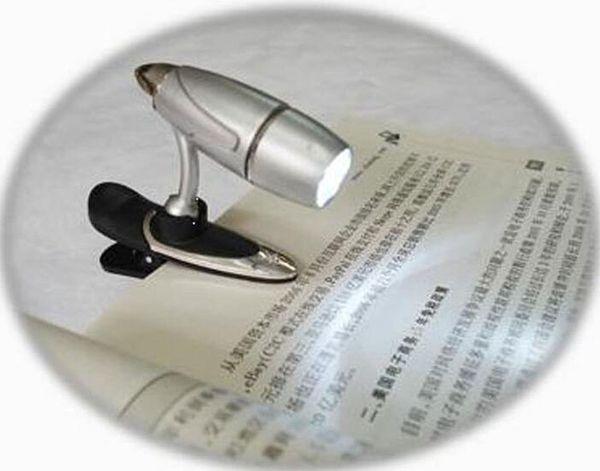 LED bullet clip book light new reading lamp 100% Brand New Unique Mini Clip-On Flexible Bright LED Light Book Reading Lamp