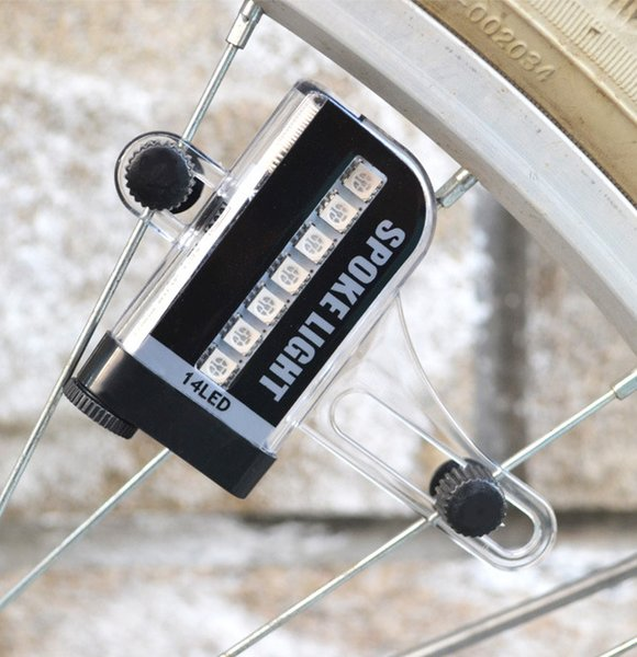 Free shipping 100pcs/lot Fashion LED Bike Spoke Light 14 LED Cycling Light Wheel Spoke Bike Light Spoke Light 30 Changes