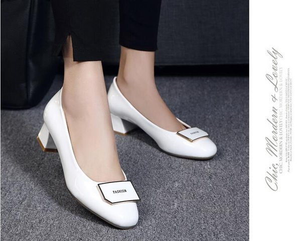 Spring and autumn period and the leisure lighter leather women's shoes thick with square head work with large size and comfortable