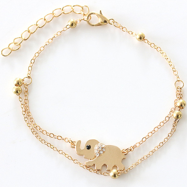 Lucky Elephant Double Foot Chain Crystal Anklets Bracelets Designs Gold Ankle Bracelets For Women Charms Jewelry Freeshipping