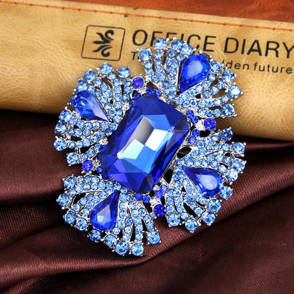 Luxury CZ Zirconia Stone Leaf Brooches for Women blue Crystal Simulated Flower Wedding Brooch Pins Jewelry
