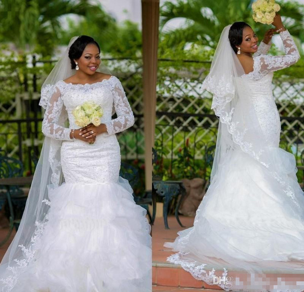 2016 African Style Plus Size Mermaid Wedding Dresses With Sheer Long Sleeves Lace Appliques Beaded Ruffles Train Formal Garden Bridal Gowns