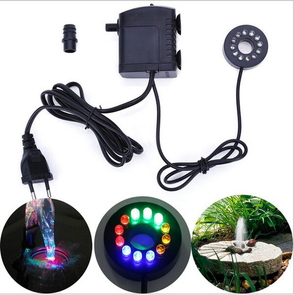 2016 recién llegados Bomba sumergible eléctrica con 12 colores Luz LED para acuario Fuente Tanque de peces Bomba de agua ligera Circulación de agua