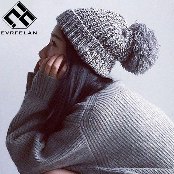 Mode Pom Pom Hut Für Frauen Grils Skullies Frauen Mützen Warme Strickmütze Weibliche Wintermütze Marke Frauen Beanie Hut Großhandel