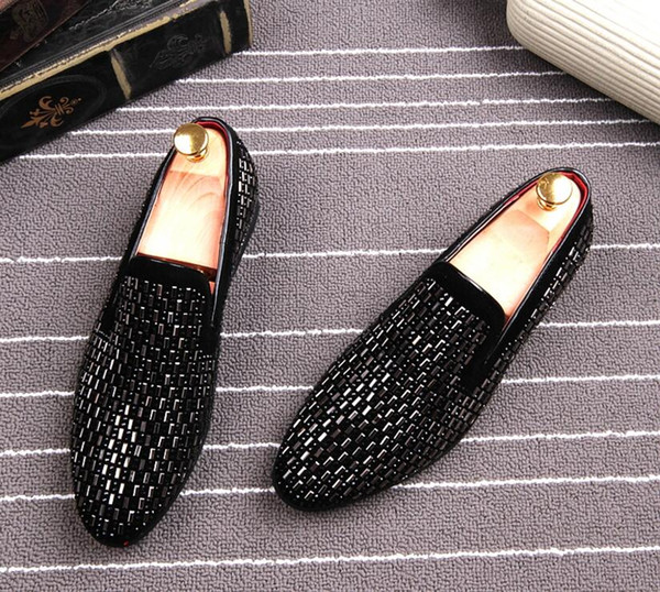 New British style Men casual Evening party dress shoes Glitter Rhinestone Homecoming Prom shoes loafers Sapato for mens