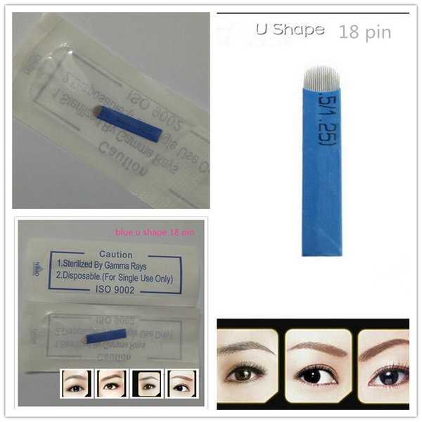 best selling 100 PCS 18 Pin U Shape Tattoo Needles Permanent Makeup Eyebrow Embroidery Blade For 3D Microblading Manual Tattoo Pen