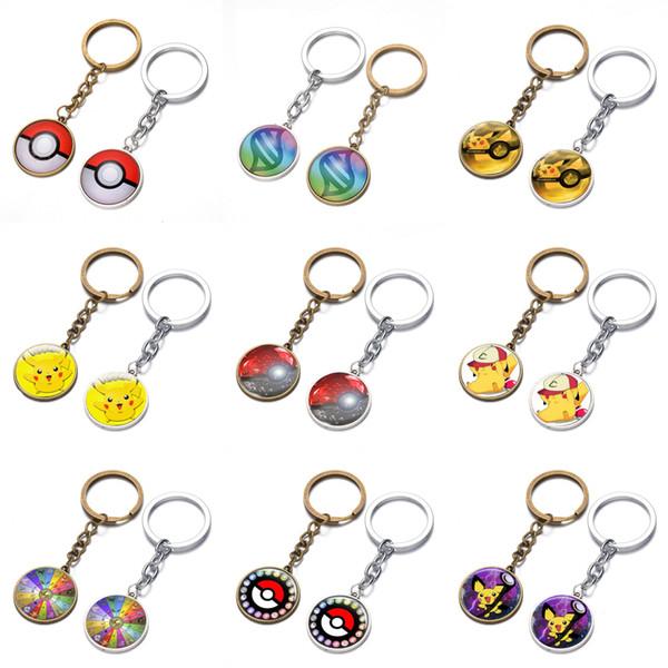 100pcs 18 Styles Alloy Cartoon Key chain Cool Creative keychains RPG mobile game theme Key Chain Bag Pendant Car Keychain