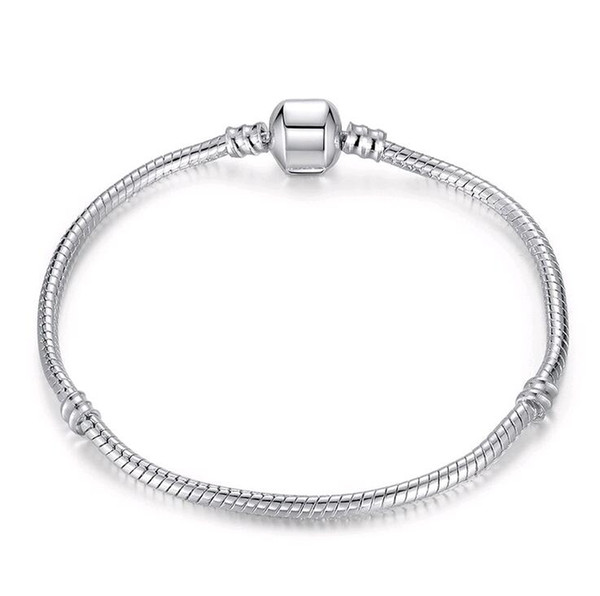 best selling 925 Sterling Silver Snake Chain Bracelet for European Clasp Charm Bead Bangle Bracelets Mix Size 17CM-21CM Wholesale