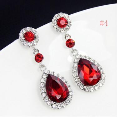 Elegantes pendientes de lágrima para niñas / mujeres - Tono plateado CZ Crystal aretes de botón Pendientes largos