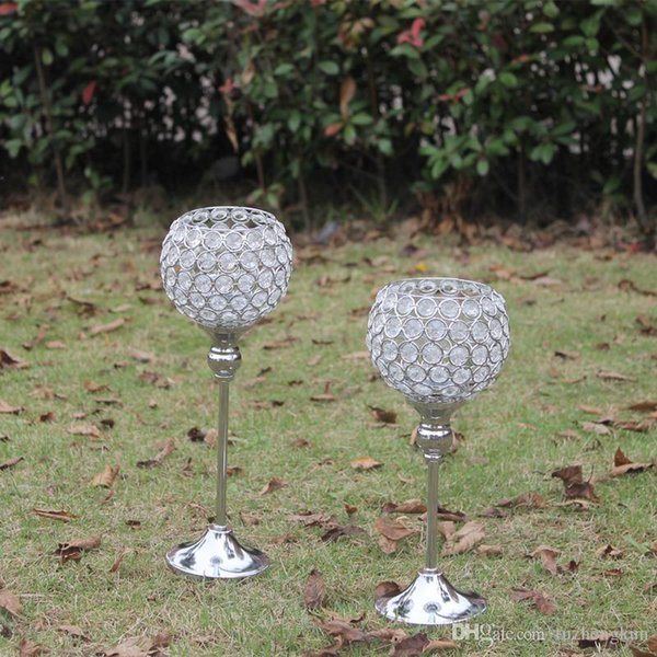 Metal silver plated candle holder with crystals. wedding candelabra/centerpiece decoration,1 set=2 pcs candlestick Free shipping