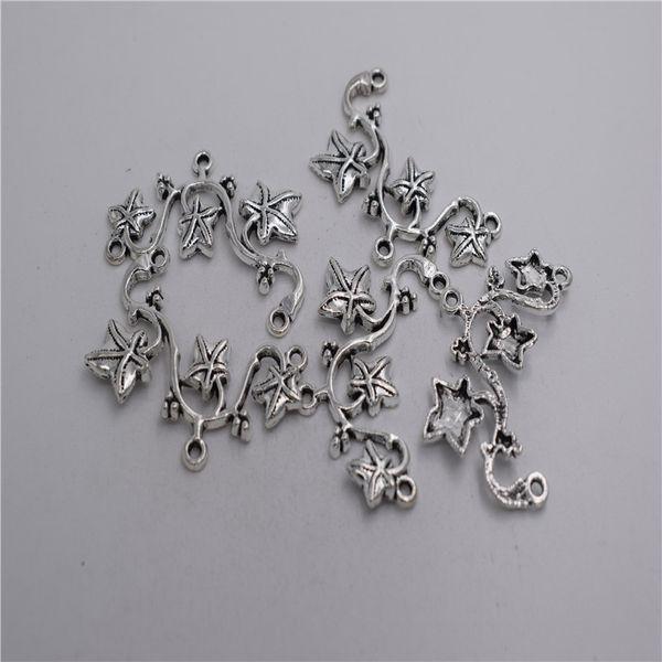 Yeni Malzemeler: çinko metal alaşım 47 * 26mm, döngü: 1mm 4 adet Antik gümüş kaplama 3 delik vine çiçek kolye konektörü T0214