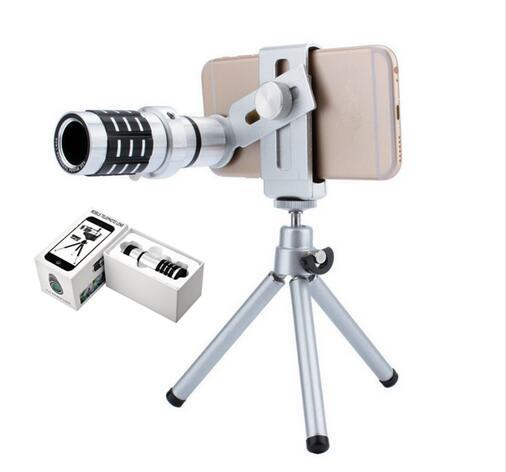 Newest Metal 12X Magnification Zoom Optical Mobile Phone Telephoto Telescope Camera Lens With Clip Tripod For iphone 7/7Plus Samsung S8