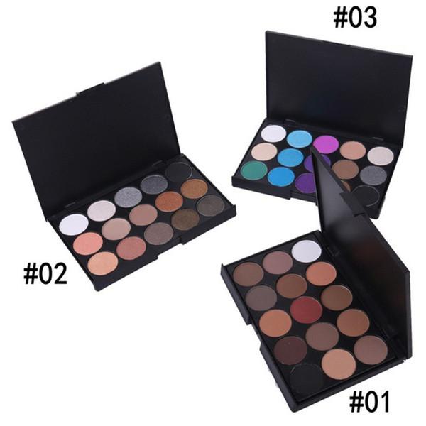 Toptan Satış - Kadınlar 6 desenleri için Toptan-1pcs Doğal 15 Renk Göz farı Comestic Uzun Ömürlü Makyaj Göz Farı Paleti Mat Marka