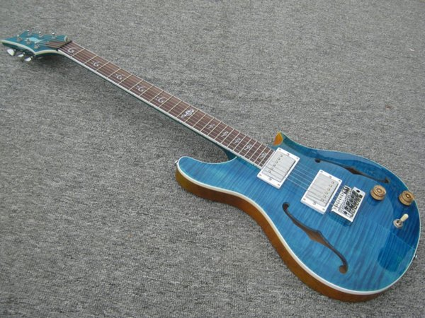 Eine neue Marke Electric RPS Gitarre durch Blau mit Tigerflame auf Body Top. China-Gitarre, hohe Qualität. Miniformkörper kann cusotoimsed sein!