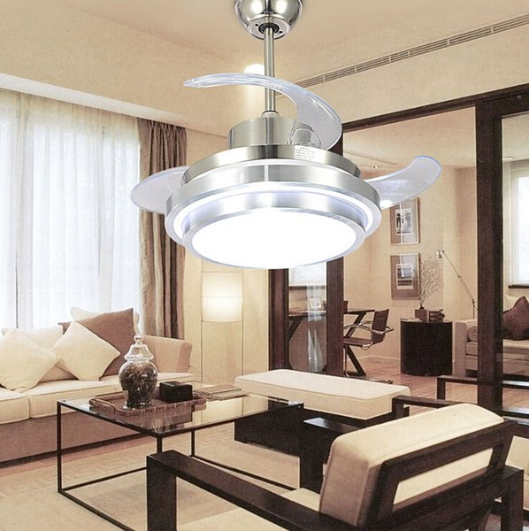 top popular Ultra Quiet Ceiling Fans 110-240V Invisible Ceiling Fans Modern Fan Lamp for Living Room European Ceiling Light 48   42   36   32 Inches 2021