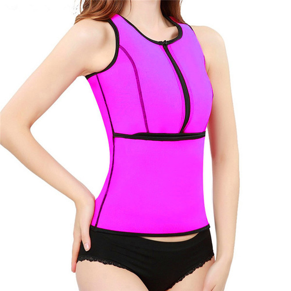 Wholesale- 2016 Fashion Womens Breathable Rubber Shoulder Slimming Loss Weight Vest Zipper Neopreen Sweat Body Shaper Waist Trainer