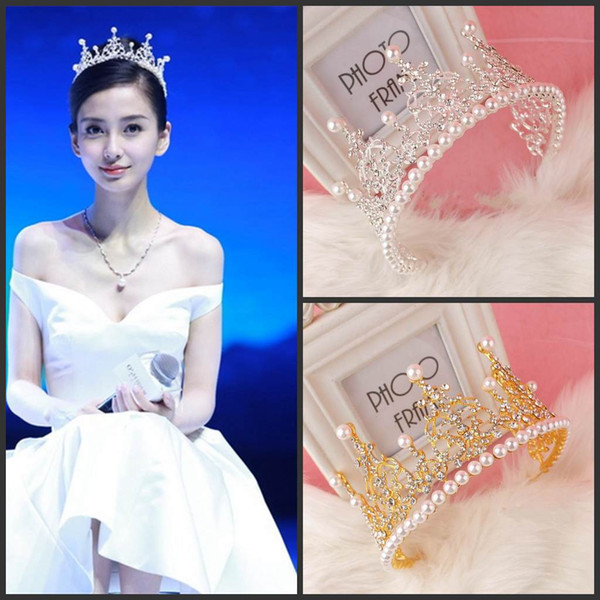 2016 Hot Sale Luxurious Crystal Pearls Celebrity Crowns Sparkling Wedding Bridal Tiaras and Crowns Cheap Bridal Accessories Real Picture