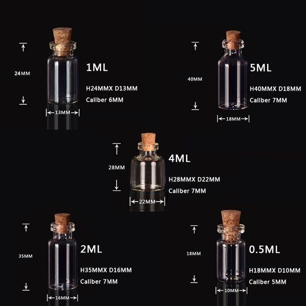 0.5ML 1ML 2ML 4ML 5ML Fiale Bottiglia di vetro trasparente con tappi Bottiglia di vetro in miniatura con tappi di sughero vuoti Campione / Matrimoni messaggio Desideri gioielli