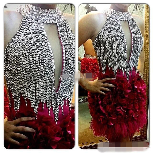 New High Neck Cocktail Party Dresses Sparkly Crystals Knee Length 2019 Hot Sale Evening Occasion Gowns With Feathers 3D Handmade Flowers