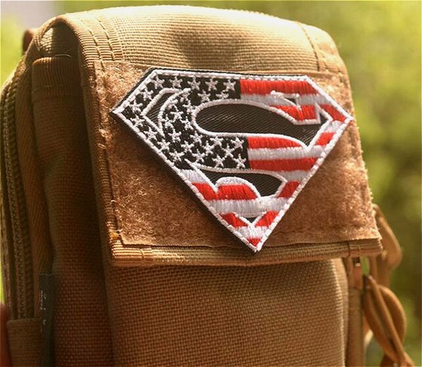 top popular 3*2 inch high quality Wholesale 3D Patches Superman Embroidered patch with magic tape outdoor armband badge GPS-029 garment accessories 2019