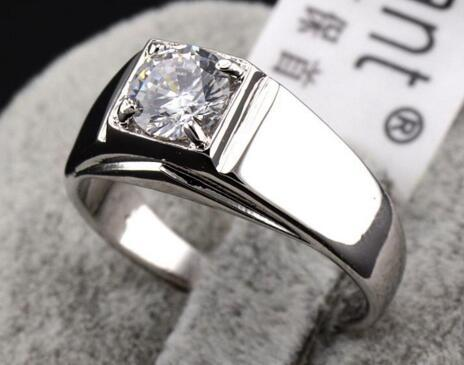 Men's hearts and arrows finger ring,Swarovski crystal Ring jewelry Laser engraving 18k gold plated male rings,fashion