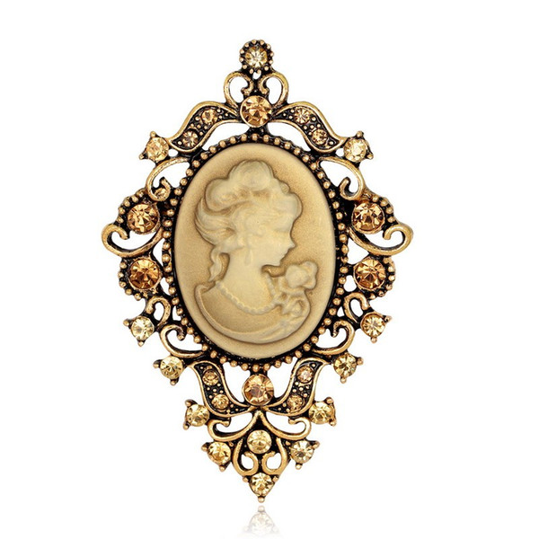 Brooch newest brooch vintage female broches fashion rhinestone pins and brooches for scarf cute unique brooch cameo broche