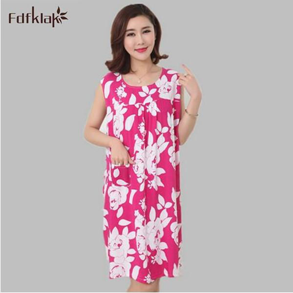 063af0b699 Wholesale- Summer Women Sleeping Wear Nightgowns Cotton Nightdress Homewear  Womens Night Sleepwear Camicie Da Notte Home Clothes E0003
