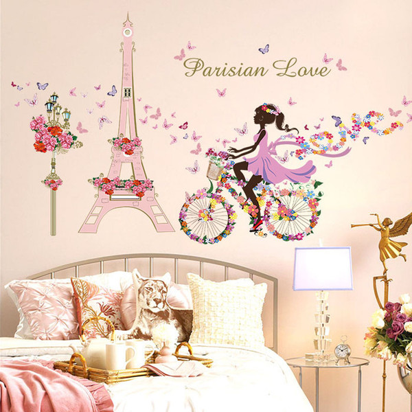 Flower Fairy Bicycle Butterfly Flower Tower Wall Sticker Girls Room Kids  Nursery Wall Decals Home Decorations Vinyl Art Stickers Vinyl Clings For ...