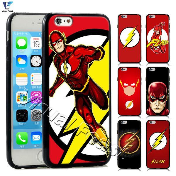 The Flash Phone Case Superman Superhero DC Comics The Flash For iPhone 6 6s Phone Case Cover Hybird TPUPC Free Gift