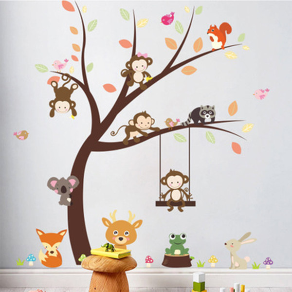Cartoon Monkey Koala Squirrel Birds Playing on Tree Wall Stickers Kids Room Nursery Decor Wall Decals Poster Art Rabbit Giraffe Grass Mural