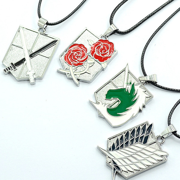 Metal Anime Attack on Titan Wings of Liberty Pendant Necklace Shingeki no Kyojin Cosplay Necklace Survey Corps Choker Necklace