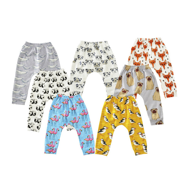 8 Styles Baby Pants Trousers Babies Cartoon Animal Pattern Loose Harem Pants Bottom Infants Toddlers Cotton Leisure Pants Trousers For 0-3T